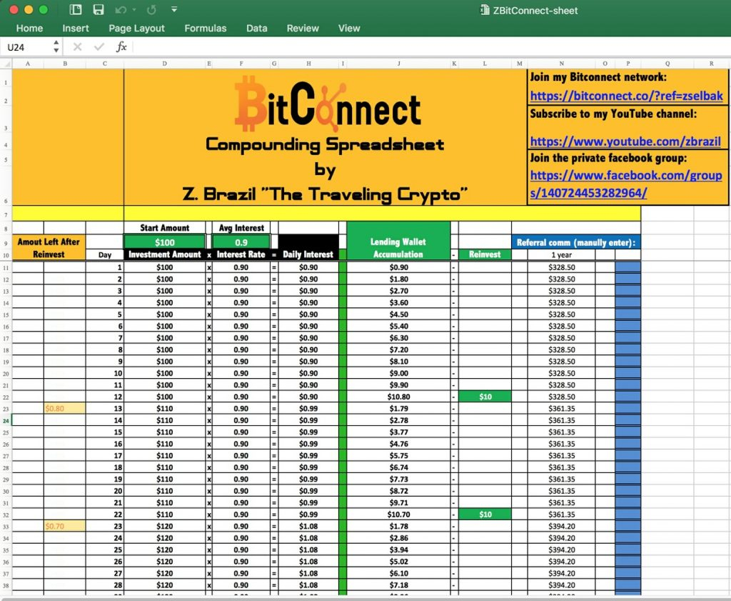 Free Bitconnect Compounding Spreadsheet For Bitconnect Reinvest Spreadsheet Compound Interest As  Pywrapper