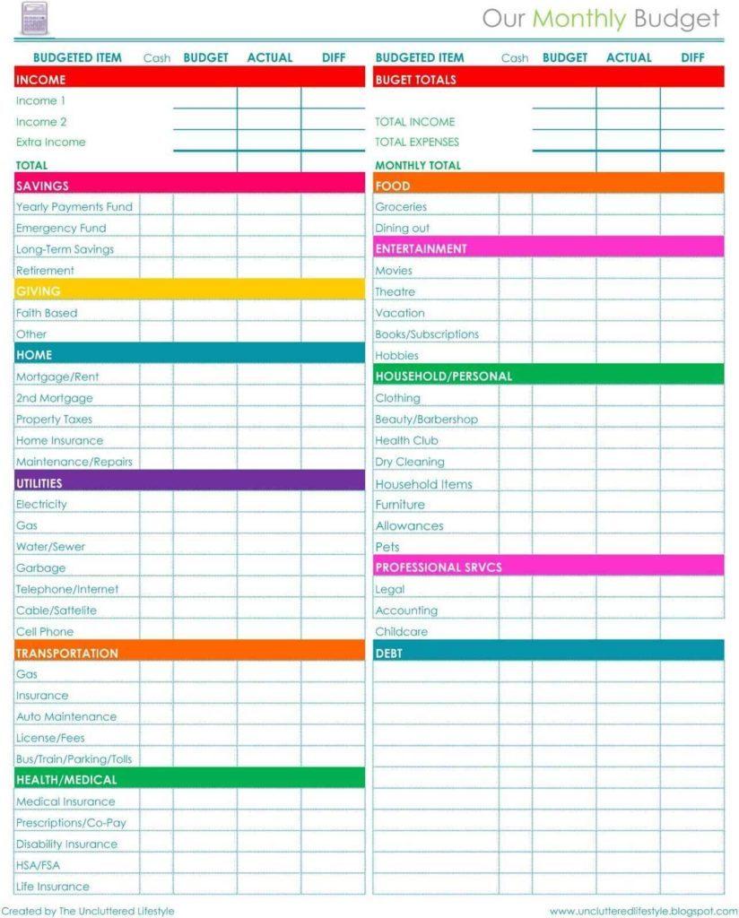 Free Budget Spreadsheet Pertaining To Bills Spreadsheet Template Daily Expense Free Budget Google Docs