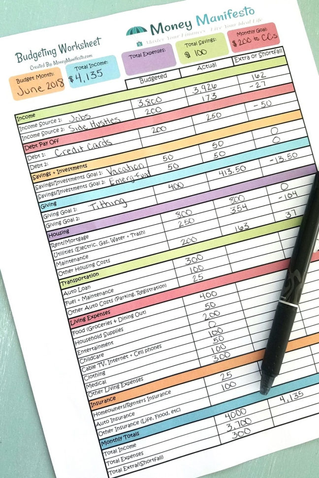 Free Budget Spreadsheet Printable Intended For Free Budgeting Worksheet Printable To Help You Learn How To Budget