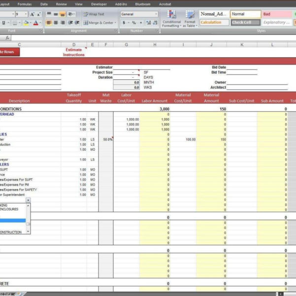 Free Construction Estimating Spreadsheet Template In Construction Estimate Spreadsheet Template Free And Free