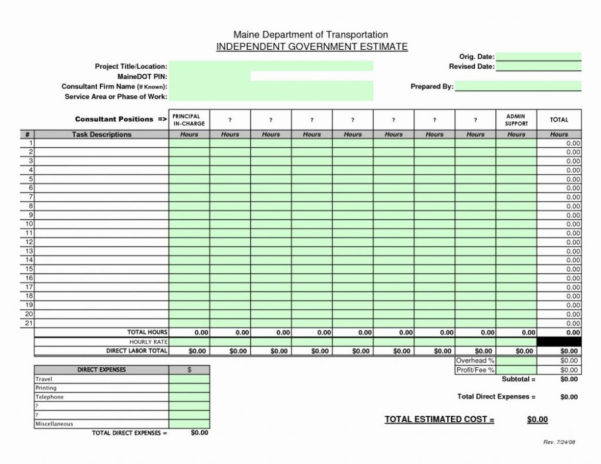 Free Construction Spreadsheet Inside Construction Cost Estimate Template Excel Free Spreadsheet