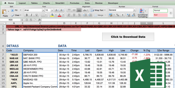 Free Day Trading Excel Spreadsheet Within How To Import Share Price Data Into Excel  Market Index