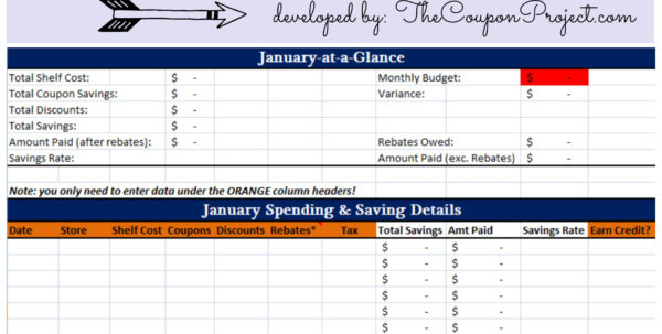 Free Downloadable Coupon Spreadsheet Intended For Free Savings Tracker  Free Download