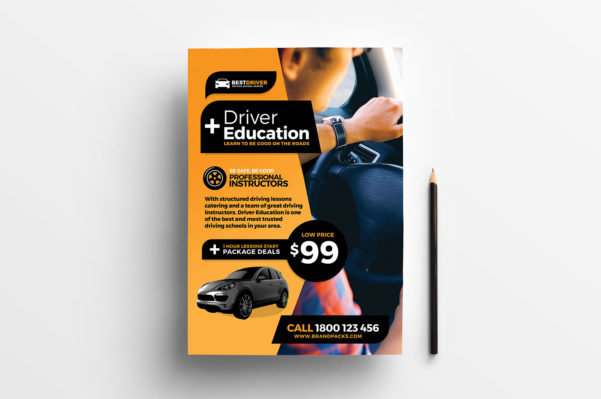 Free Driving Instructor Accounts Spreadsheet Inside Free Driving School Poster  Rack Card Template  Psd, Ai  Vector
