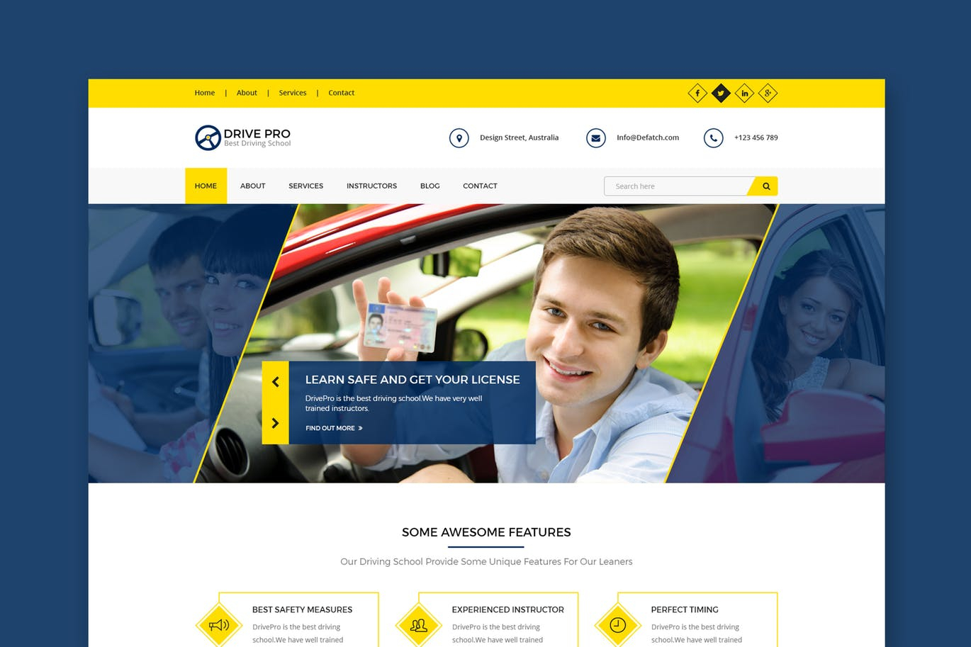 Free Driving Instructor Accounts Spreadsheet Throughout Drive Pro : Driving School Html Template Free Download  Graphicdl