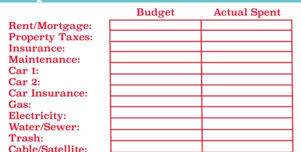 Free Easy Spreadsheet Throughout Budget Worksheet Printable Template Klise Thegreaterchurch Co