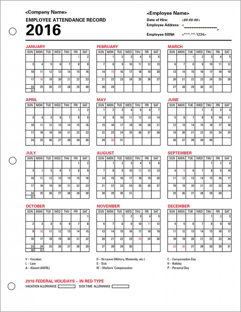 Free Employee Attendance Tracking Spreadsheet Pertaining To Employee Attendance Tracker Template 2016 With Excel 2018 Plus Free