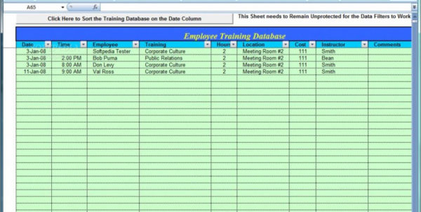 Free Employee Training Tracker Excel Spreadsheet With Regard To Free Employee Training Tracker Excel Spreadsheet Tutorials For