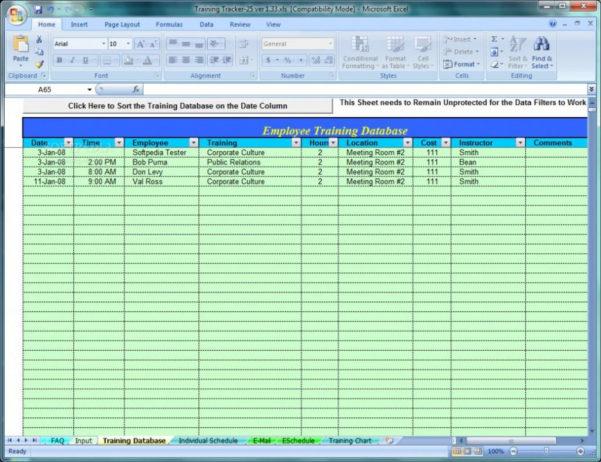 Free Employee Training Tracker Excel Spreadsheet With Regard To Free Employee Training Tracker Excel Spreadsheet Tutorials For