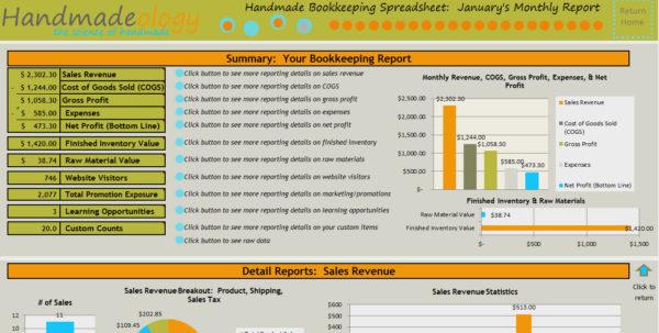 Free Etsy Bookkeeping Spreadsheet For Handmade Bookkeeping Spreadsheet 2.0 : Number One Selling