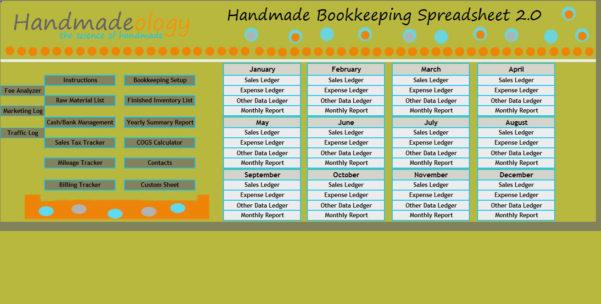 Free Etsy Bookkeeping Spreadsheet Regarding Handmade Bookkeeping Spreadsheet 2.0 : Number One Selling