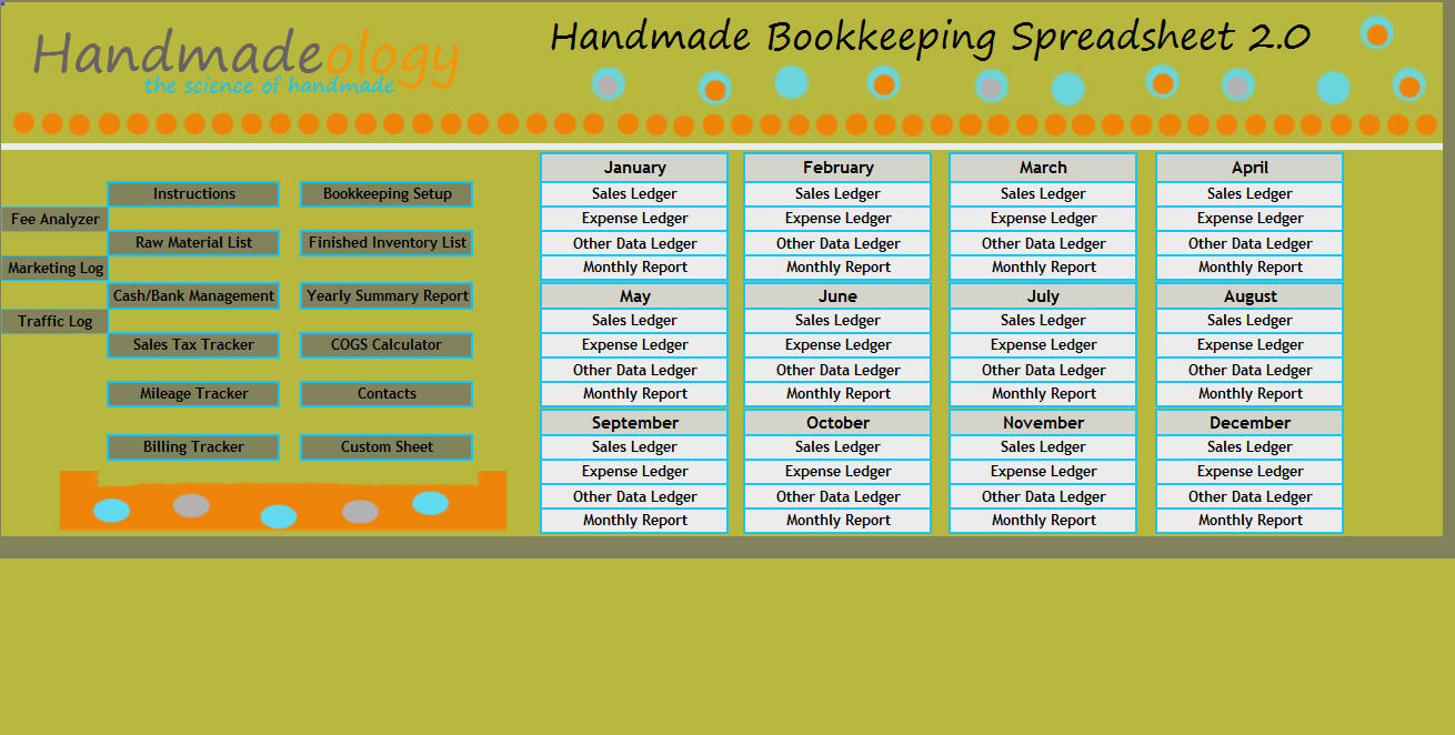 Free Etsy Bookkeeping Spreadsheet Regarding Handmade Bookkeeping Spreadsheet 2.0 : Number One Selling