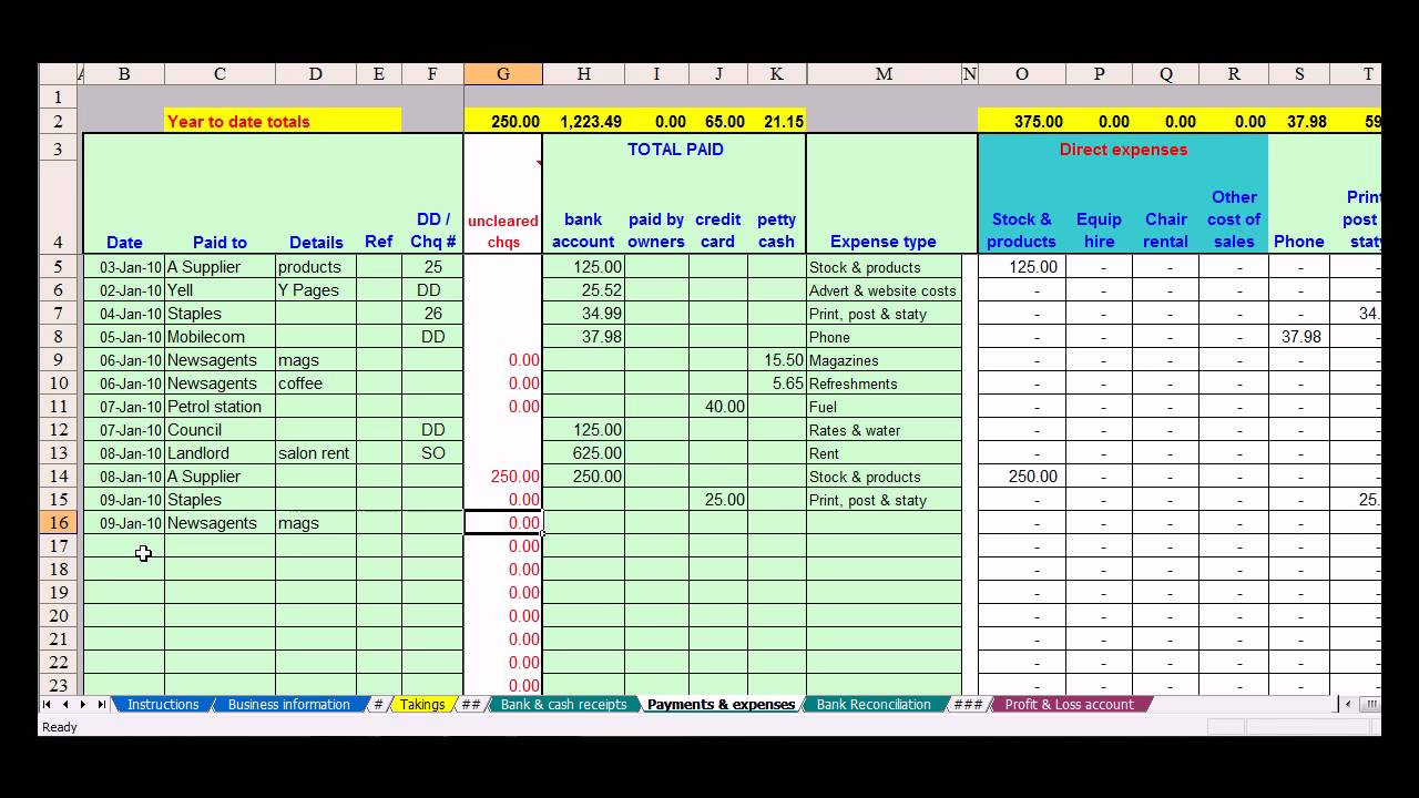 Free Excel Bookkeeping Spreadsheet Within Bookkeeping Spreadsheet Example Bookkeeping Spreadsheet Template