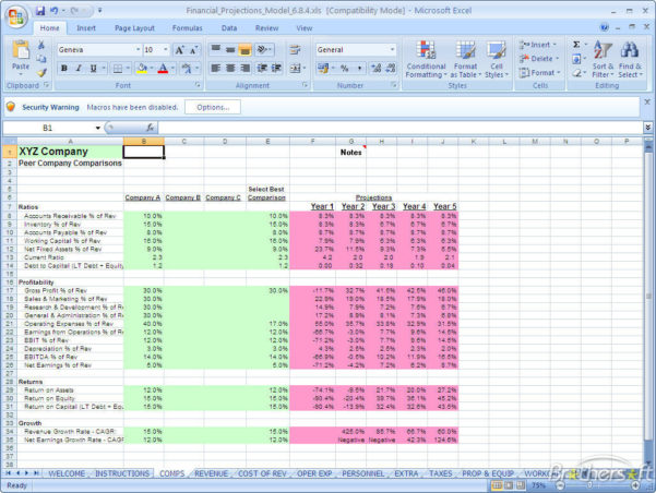 Free Financial Projection Spreadsheet With Regard To Download Free Financial Projections Model Screenshot Excel