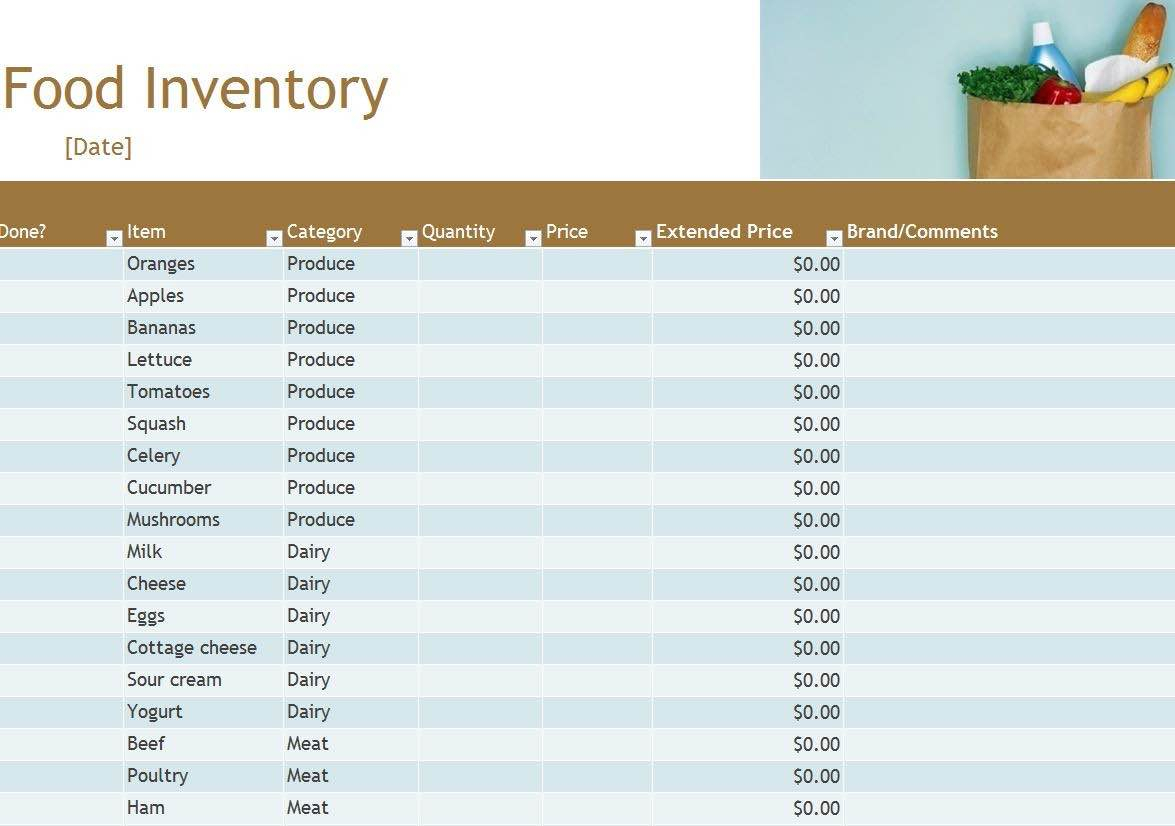 Free Food Inventory Spreadsheet Template Intended For Free Food Inventory Spreadsheet Excel Wih Food And Beverage