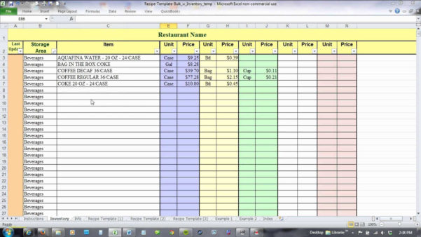 Free Food Inventory Spreadsheet Template Within Free Food Inventory Spreadsheet Template Or 14 Inspirational Bar
