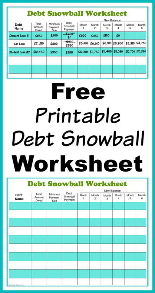 Free Get Out Of Debt Spreadsheet Throughout Free Printable Debt Snowball Worksheet Pay Down Your Debt!