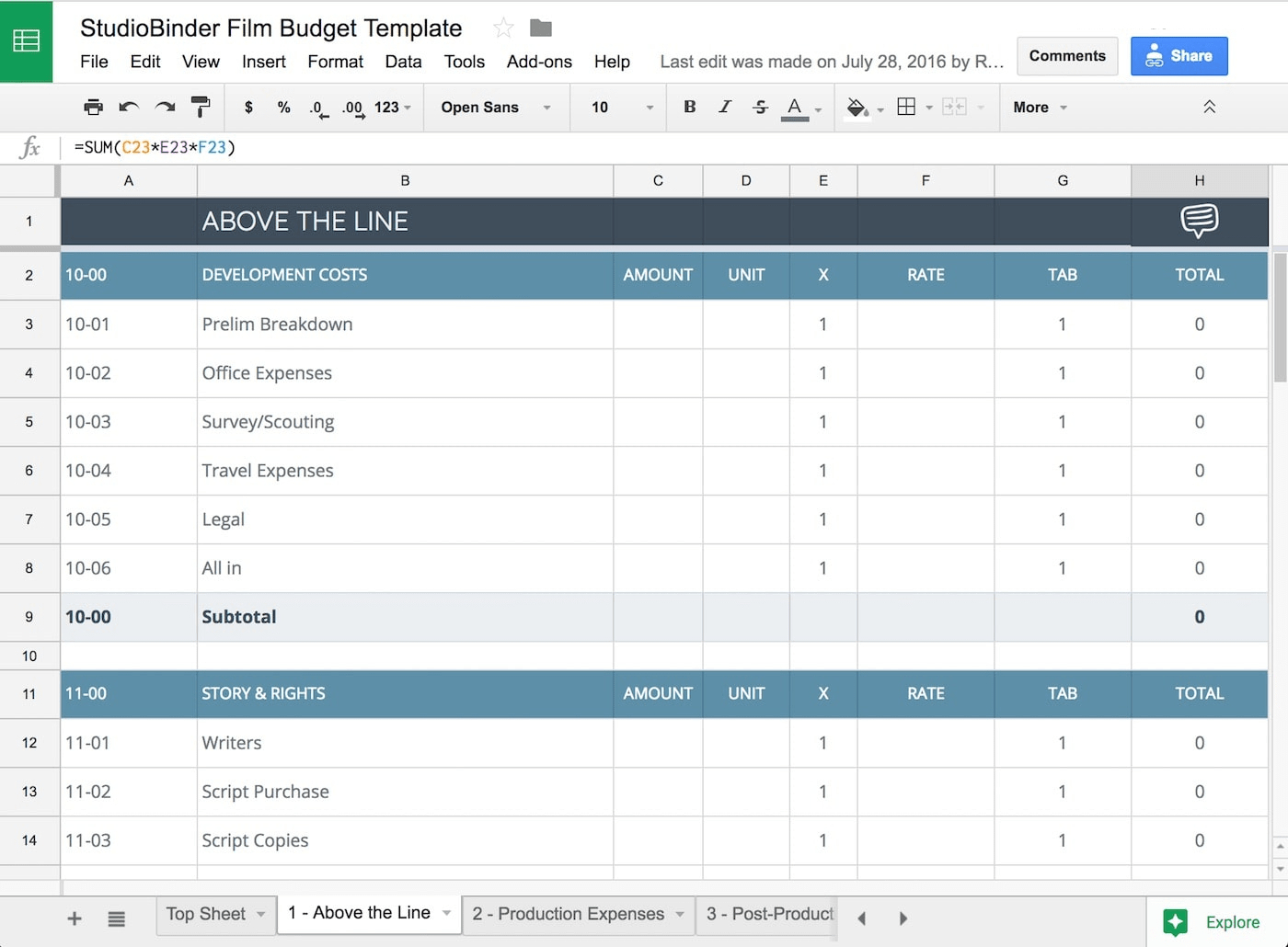 Free Google Budget Spreadsheet Regarding The Essential Guide For Crafting Film Budgets With Free Film Budget