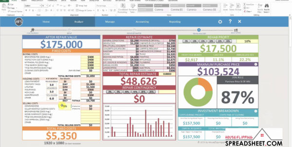 Free House Flipping Excel Spreadsheet With Regard To House Flippingeadsheet Software Demo Youtube Download Canada Free