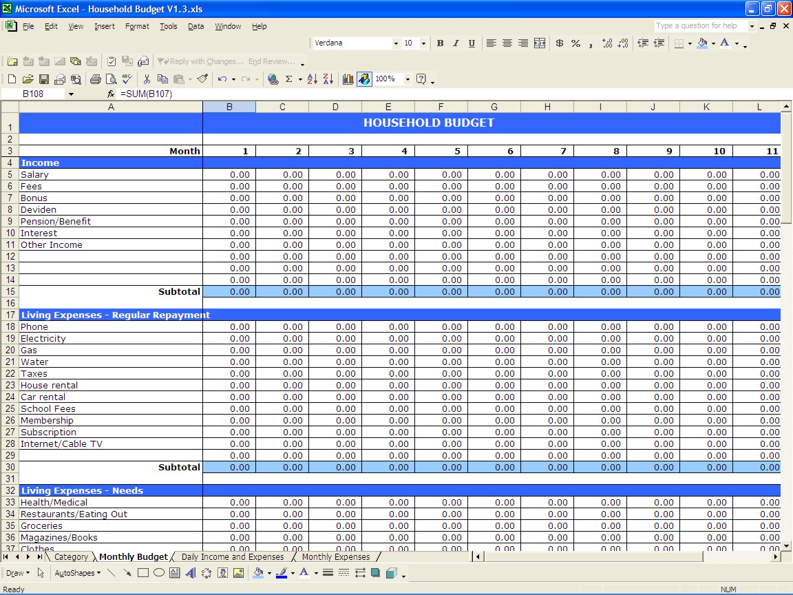 Free Household Expenses Spreadsheet For Daily Budget Spreadsheet  Alex.annafora.co