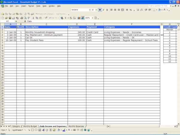Free Household Expenses Spreadsheet Regarding Monthly Home Budget Spreadsheet Excel Free Household Expenses
