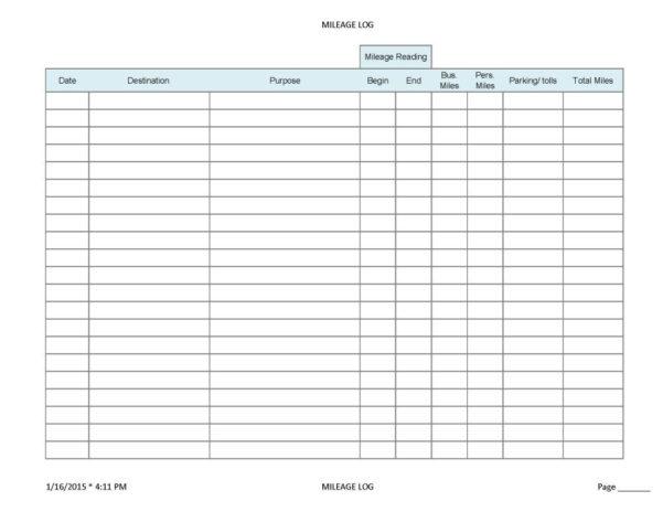 Free Ifta Mileage Spreadsheet Within Mileage Forms For Taxes  Kasare.annafora.co