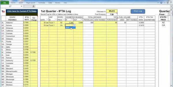 Free Ifta Spreadsheet Template With Regard To Free Ifta Mileage Spreadsheet And Template Excel On Mileage Log