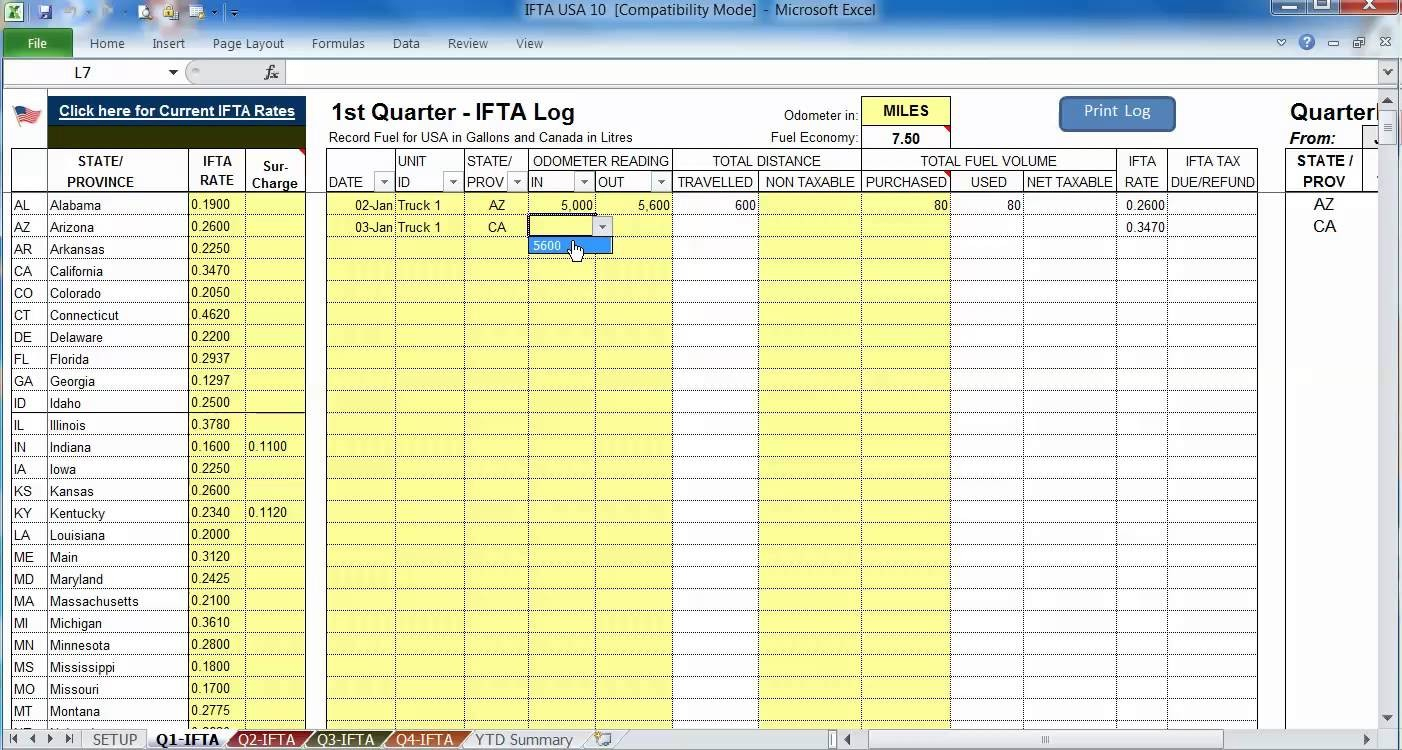 Free Ifta Spreadsheet Template With Regard To Free Ifta Mileage Spreadsheet And Template Excel On Mileage Log
