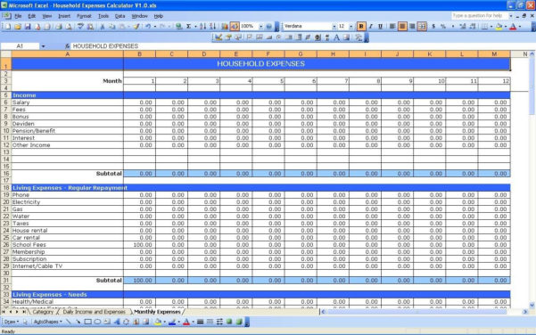 Free Income And Expenses Spreadsheet Intended For Free Monthly Expense Sheet Template And Free Income And Expenses