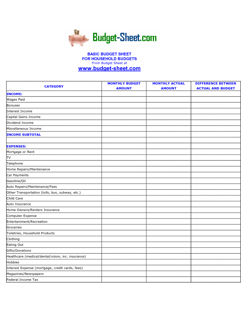 Free Income Expense Spreadsheet Inside Expense Sheet Template Free Spreadsheet Report Personal Finance