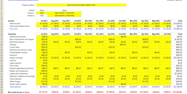 Free Investment Property Record Keeping Spreadsheet For Free Rental Property Management Spreadsheet In Excel