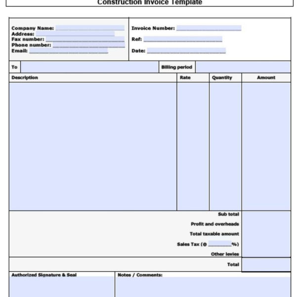 Free Invoice Spreadsheet With Free Construction Invoice Template  Excel  Pdf  Word .doc