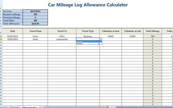 Free Mileage Log Spreadsheet Pertaining To Free Mileage Log Template For Taxes  Homebiz4U2Profit