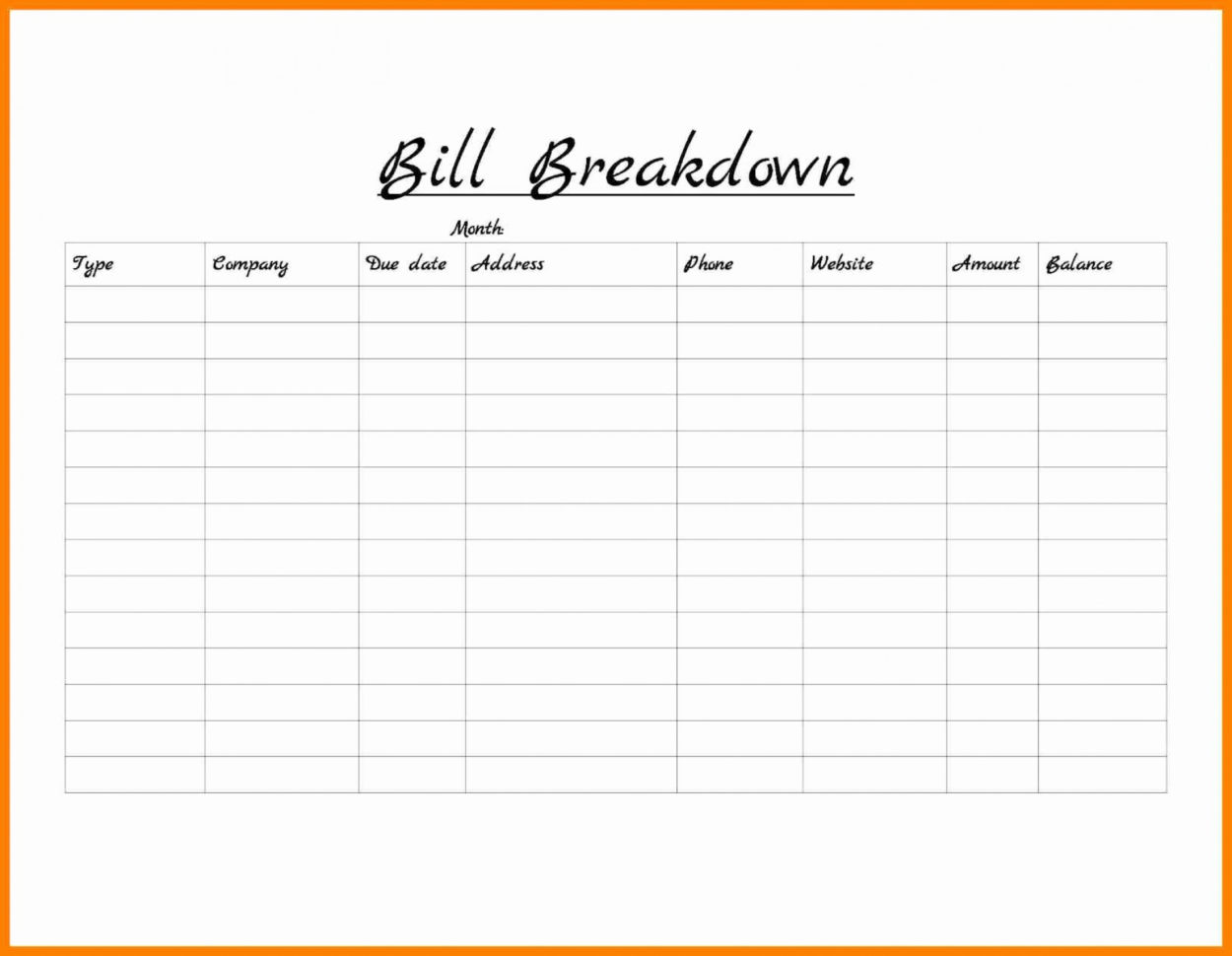 Free Monthly Bill Organizer Spreadsheet Within 009 Bill Organizeremplate Excel With Payment Printable Plusogether
