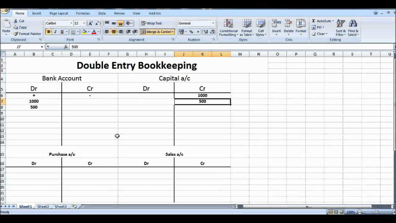Free Online Excel Spreadsheet Throughout Double Entry Accounting Spreadsheet Free Online Bookkeeping Course 7