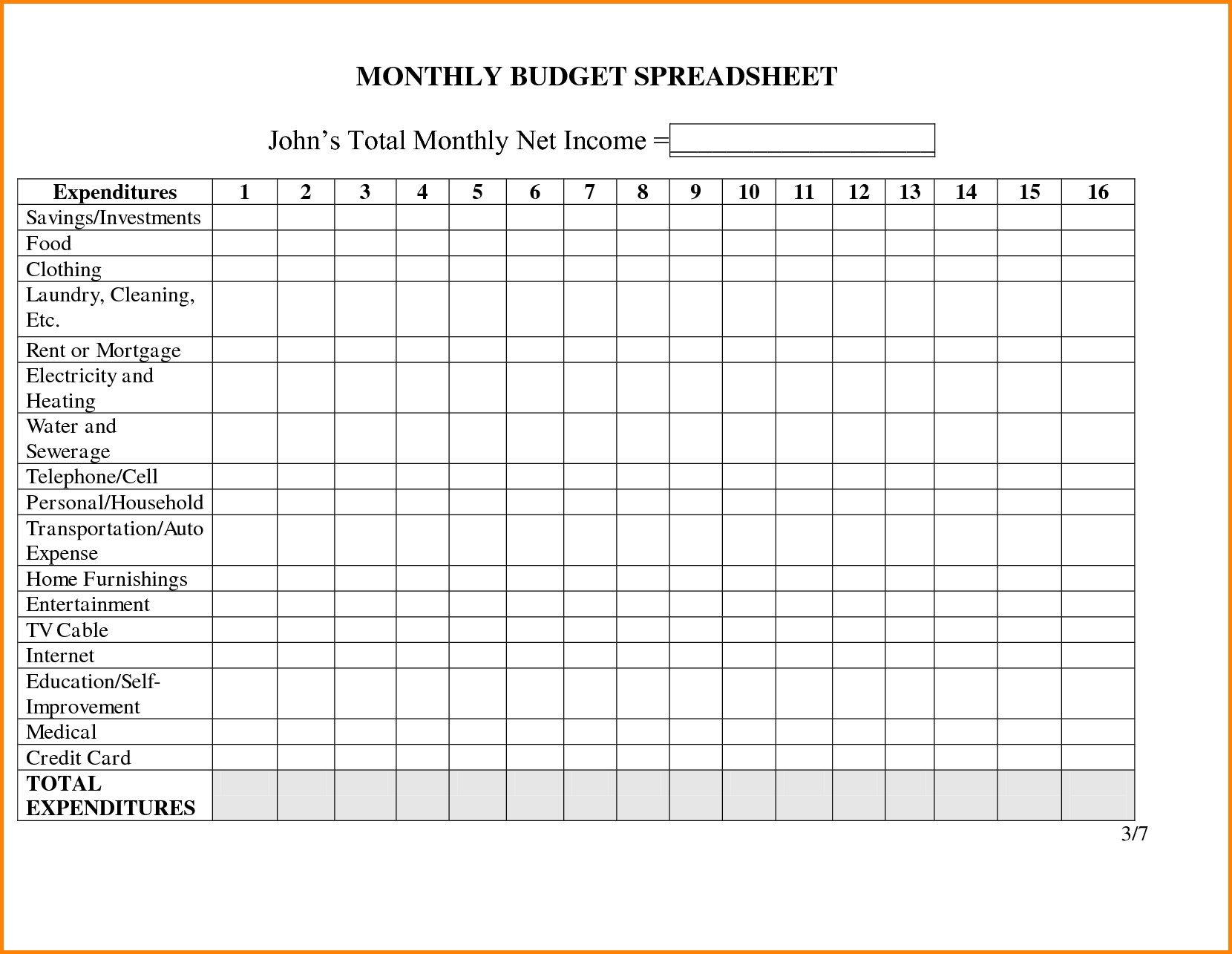 Free Personal Budget Spreadsheet In Monthly Bills Excel Template Expenses Example Of Free Personal