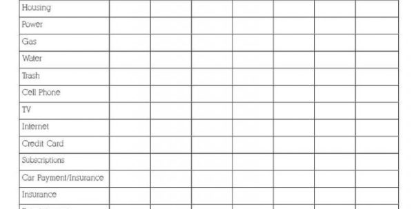 Free Printable Spreadsheet With Lines Within Budget List For Bills Template Down Your Weekly Expenses With This