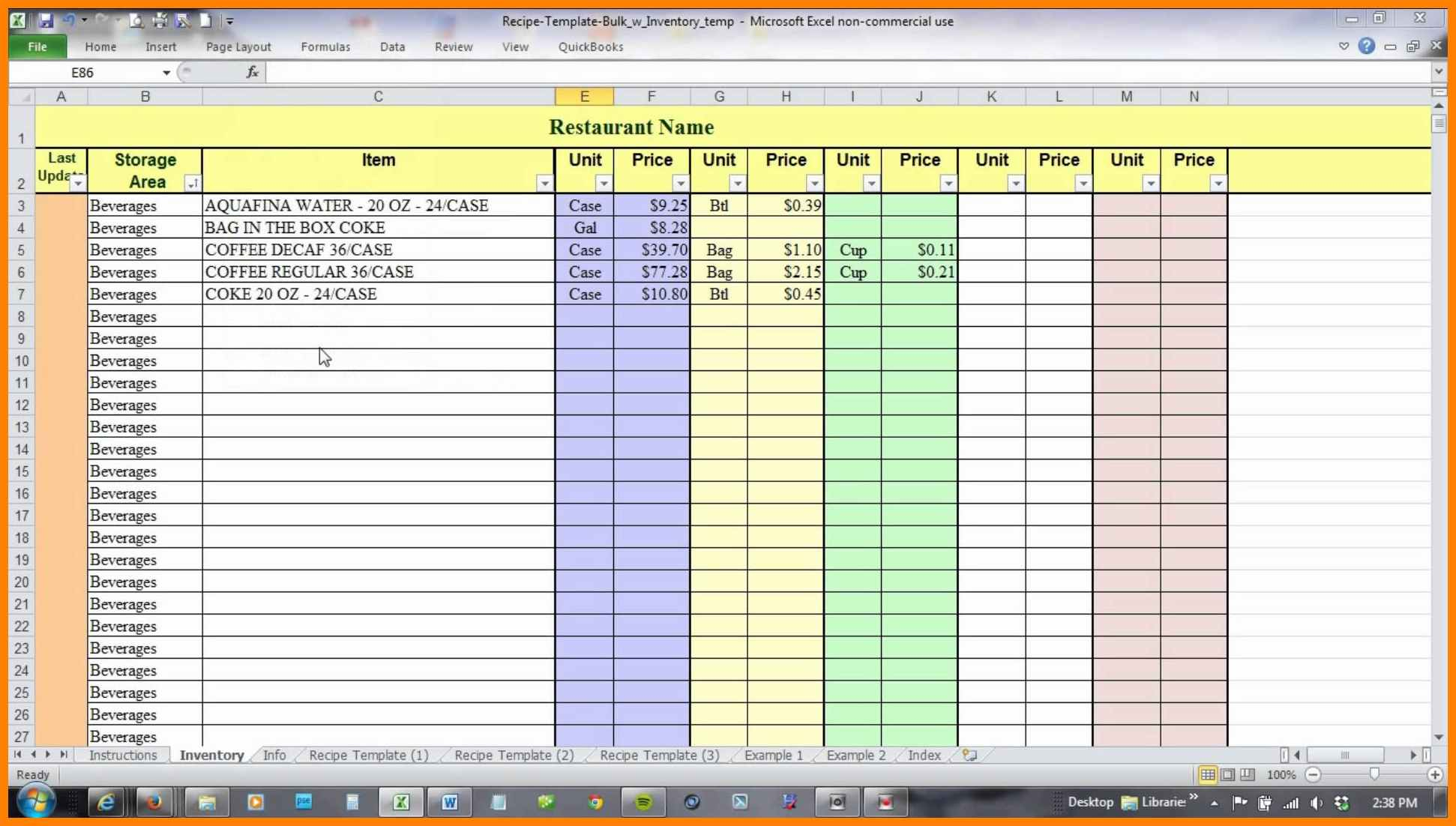 Free Recipe Costing Spreadsheet Intended For 6  Free Recipe Costing Spreadsheet  Credit Spreadsheet