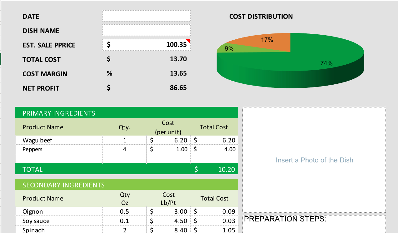 Free Recipe Costing Spreadsheet Regarding Free Food Cost Calculator For Excel