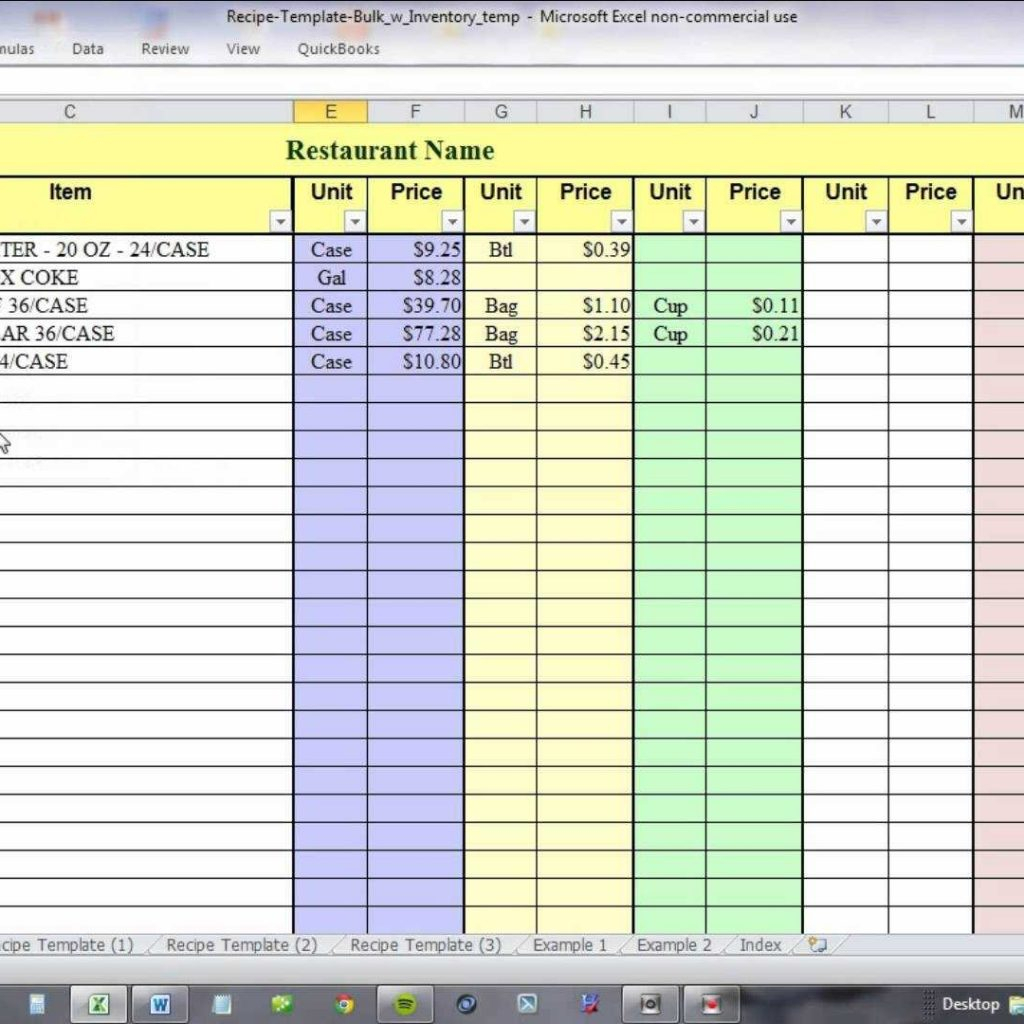 Free Recipe Costing Spreadsheet With Using Excel For Recipe Costing And Inventory Linking  Youtube In