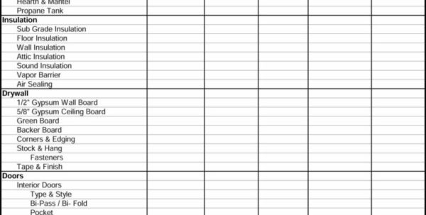 Free Residential Construction Estimating Spreadsheets Within Residential Construction Estimating Spreadsheets And Printable Job