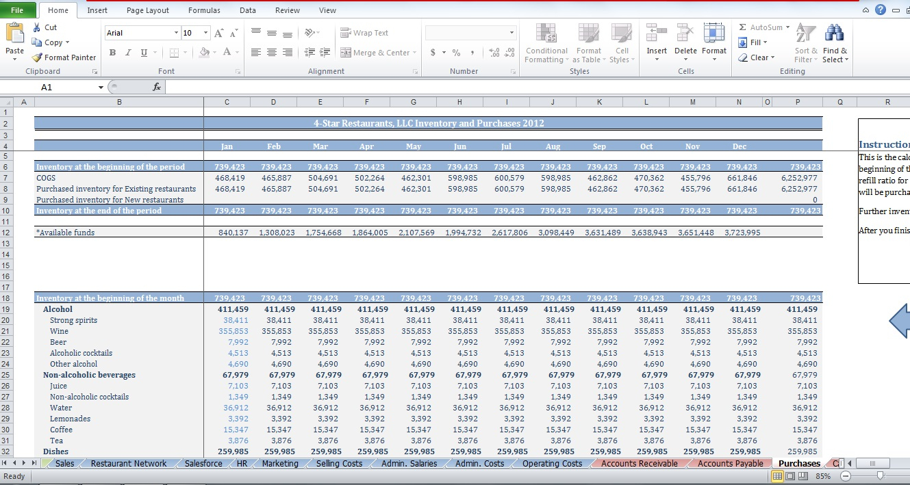 Free Restaurant Budget Spreadsheet For Restaurant Budget Template  Cfotemplates