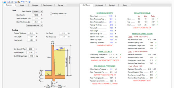 Free Retaining Wall Design Spreadsheet Intended For Cantilever Pile Support Retaining Wall Design Software  Asdip Retain