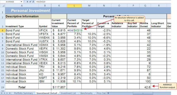 Free Share Portfolio Spreadsheet For Stock Portfolio Spreadsheet Excel Excel Investment Templates Choice