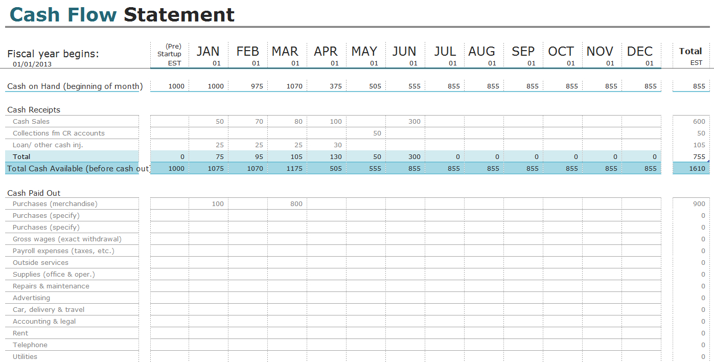 Free Sole Trader Accounts Spreadsheet Template Intended For Free Cash Flow Statement Templates For Excel  Invoiceberry