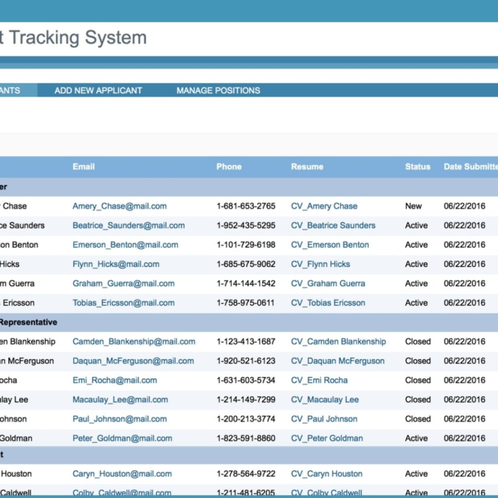Free Spreadsheet Application For Job Applicant Tracking System  Free Application Template  Caspio