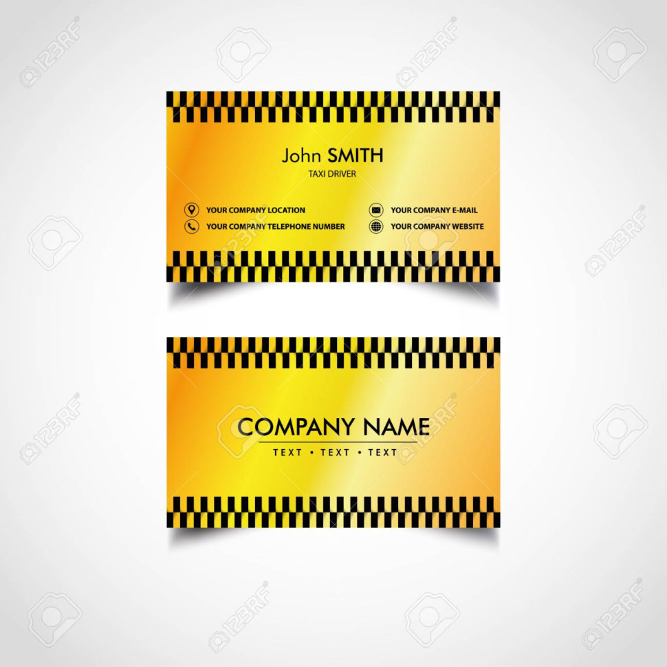 Free Taxi Driver Accounts Spreadsheet Throughout Golden Luxury Taxi Driver Card Templates Design, Vector Illustration