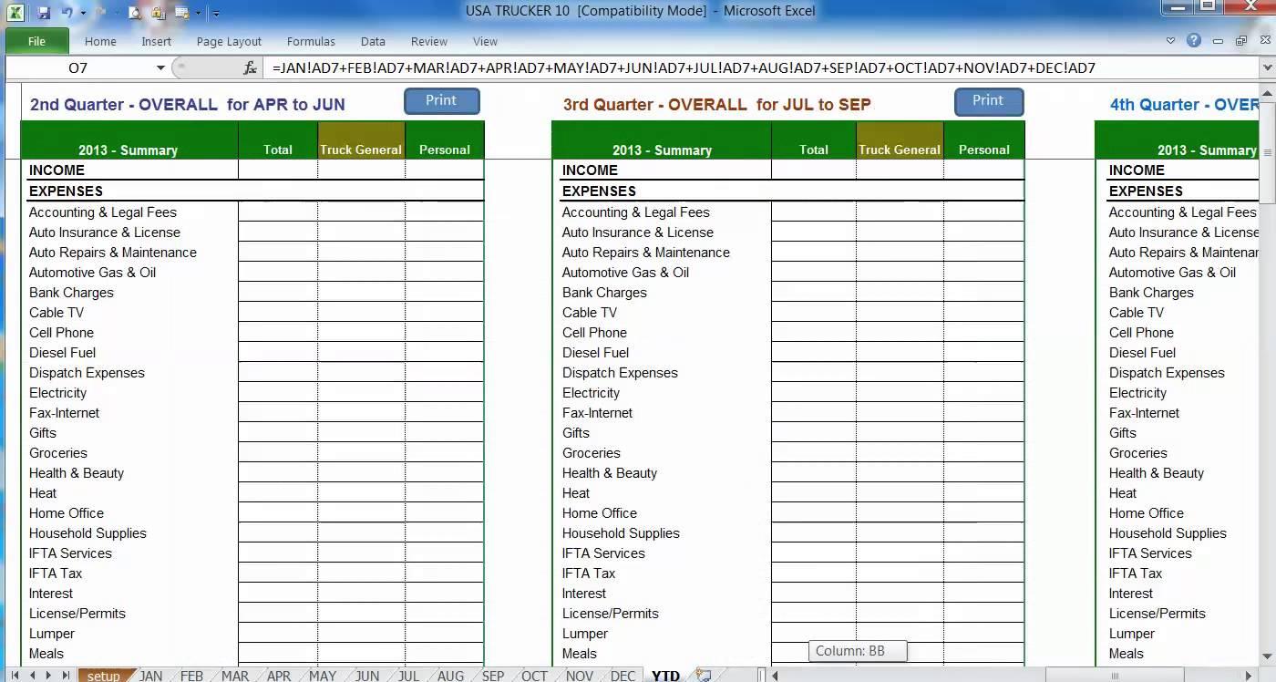 Free Truck Dispatch Spreadsheet In Truck Driver Expense Spreadsheet On Excel Spreadsheet Templates