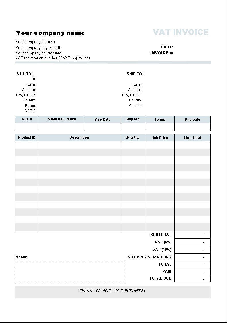Free Vat Spreadsheet Template Inside Download Construction Invoice Template Free Software: Invoice