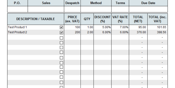 Free Vat Spreadsheet Template With Uk Vat Invoice Template Non Registered Free Excel Sample Free Vat Spreadsheet Template Payment Spreadsheet